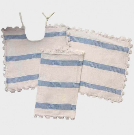 BLUE STRIPED LINEN BABY BIBS SET