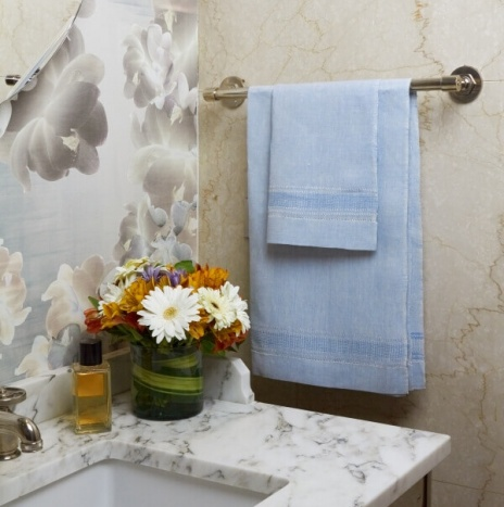 BLUE LINEN HAND TOWELS
