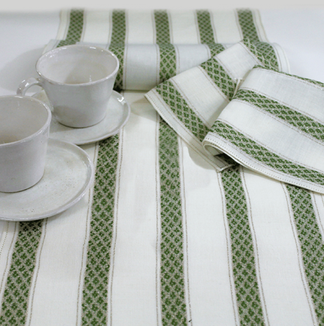 GREEN STRIPED LINEN TABLECLOTH