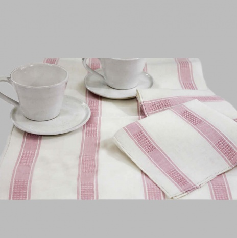 BEIGE AND PINK STRIPED LINEN TEA TABLECLOTH