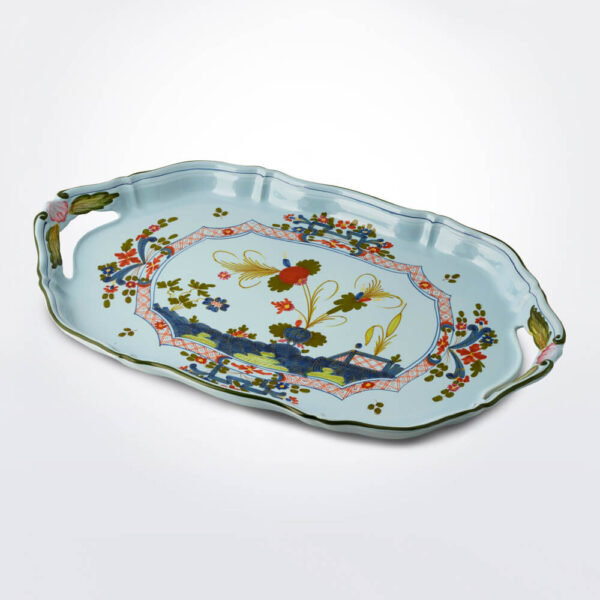 Blue majolica museum tray product picture.
