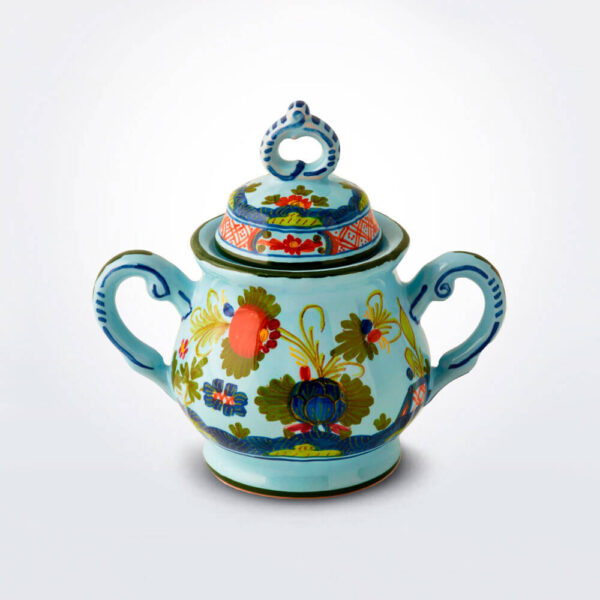 Blue Majolica sugar pot product picture.