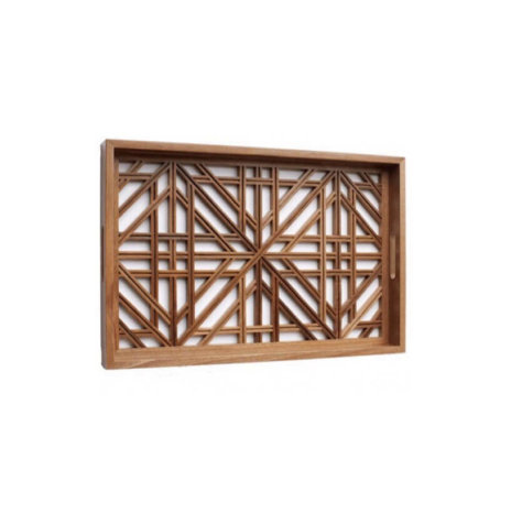LATTICE WOODEN SERVING TRAY