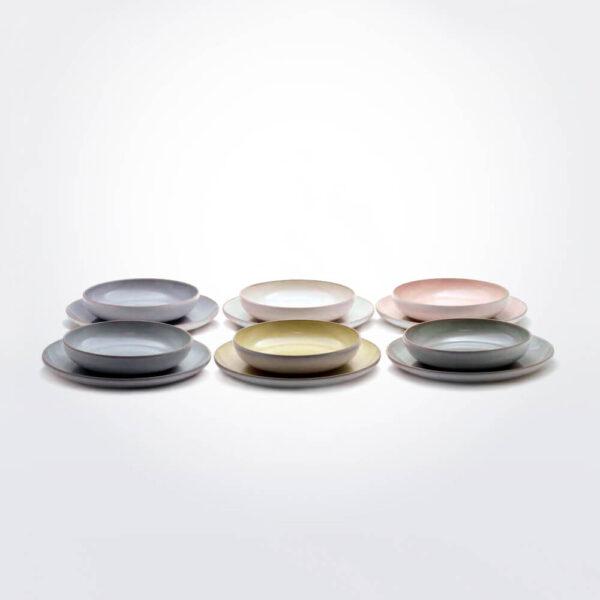 Stoneware pastel color plate set product photo.