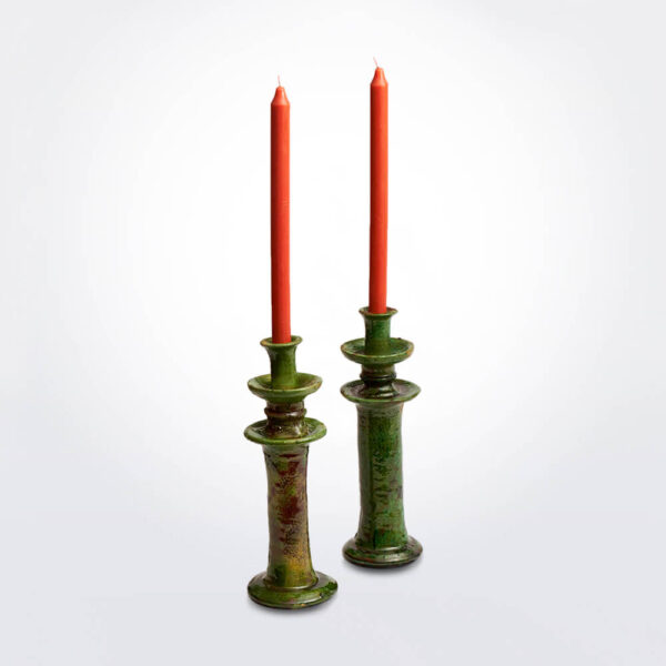 Medium Glazed Tamegroute Candle Holder Set