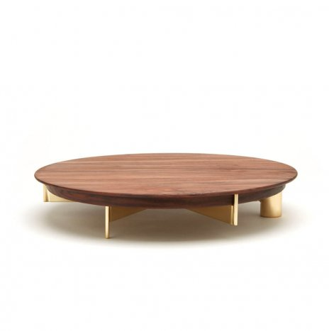 CAKE STAND WALNUT WOOD AND CAKE KNIFE