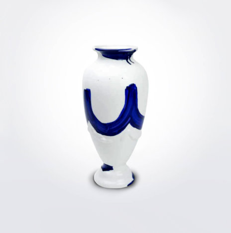 White Blue Bone China Vase