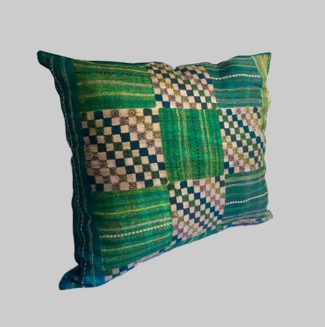 KANTHA ON GREEN SILK PILLOW COVER