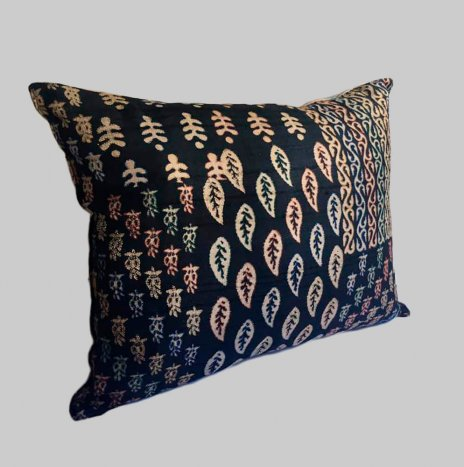 KANTHA ON BLUE SILK PILLOW COVER
