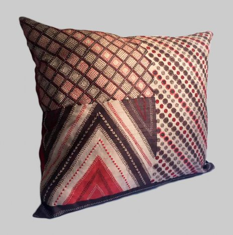 KANTHA ON RED SILK PILLOW COVER