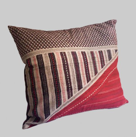 KANTHA ON RED PILLOW COVER