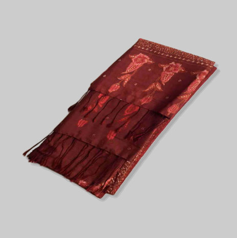 HAND PAINTED RED SILK SCARF