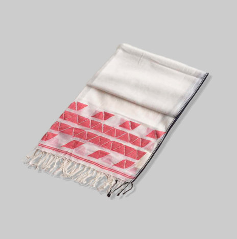 HAND PAINTED WHITE & RED SILK SCARF