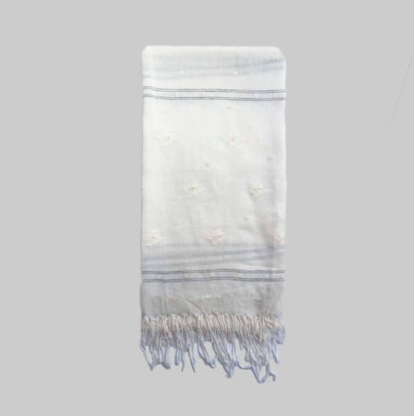 HAND PAINTED WHITE SILK SCARF