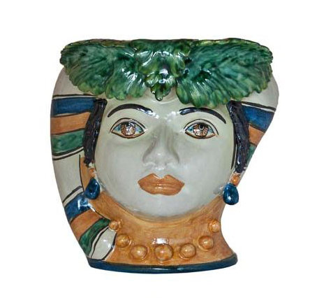 WOMAN HEAD WITH LEAVES VASE