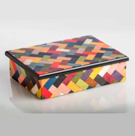 MULTICOLOR INLAID WOODEN BOX