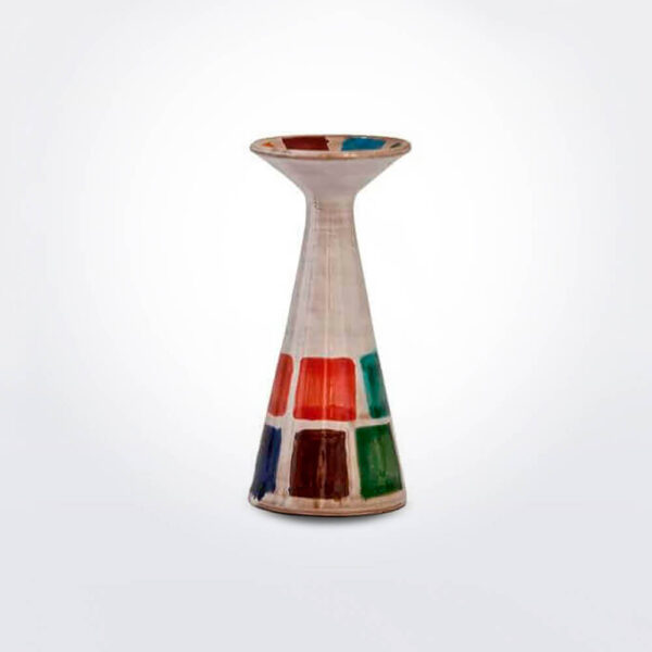 Multicolor ceramic candleholder product photo.
