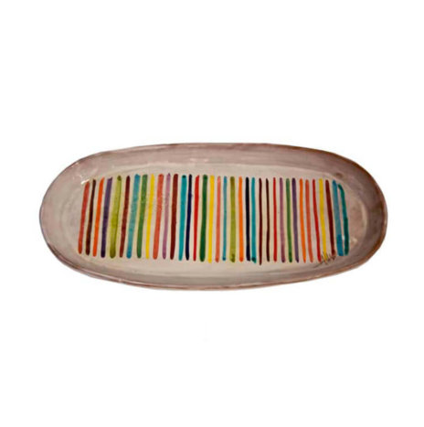 STRIPED OVAL CERAMIC TRAY