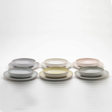 STONEWARE PASTEL COLORS PLATTER SET