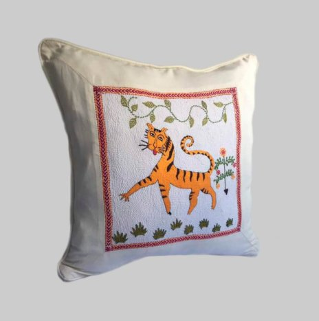 BENGAL TIGER HAND STITCHED PILLOW COVER