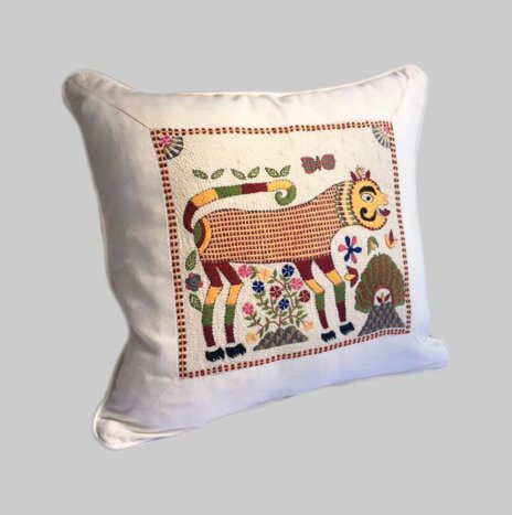 INDIAN HAND EMBROIDERED PILLOW COVER