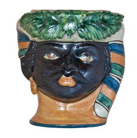 BLACK MAN HEAD VASE (Medium)