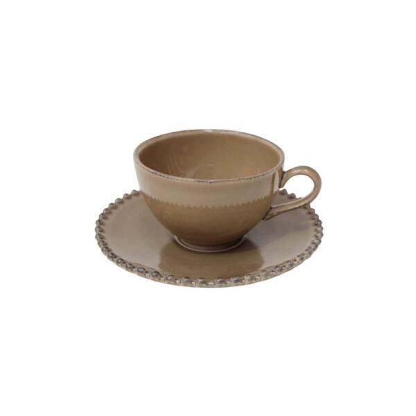 BROWN PEARL TEA CUP & SAUCER