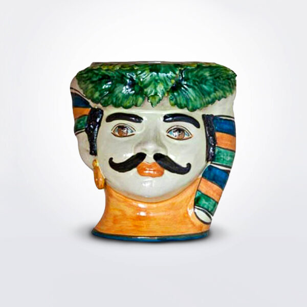 Moustache man head vase product picture.