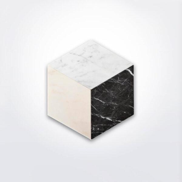 Marble plate set like a cube.
