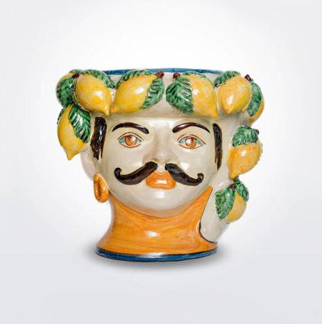 MOUSTACHE MAN HEAD WITH LEMONS VASE (Large)