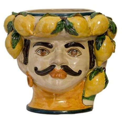 MOUSTACHE MAN HEAD WITH LEMONS VASE (Large)