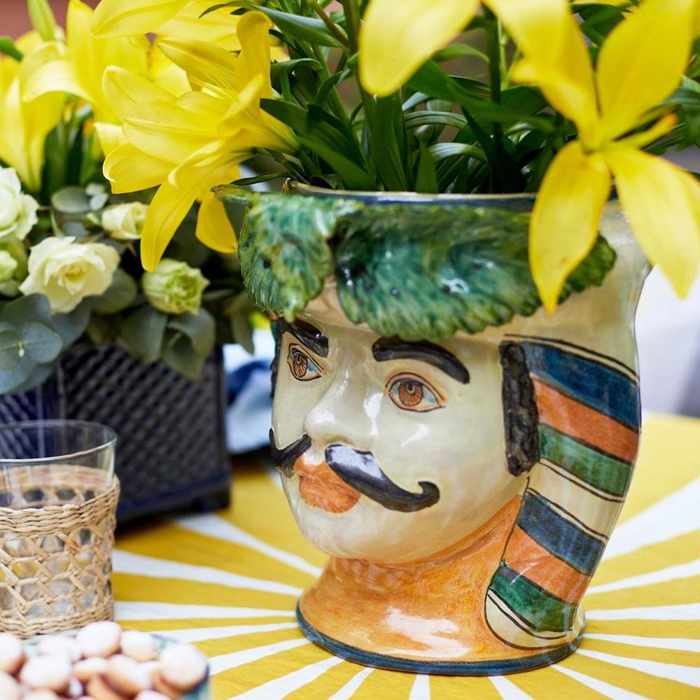 Moustache Man Head Vase 011-3