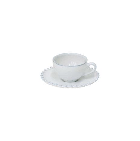 WHITE CERAMIC CUP & SAUCER SET