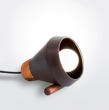 Ceramic and Wood Black Desk Lamp