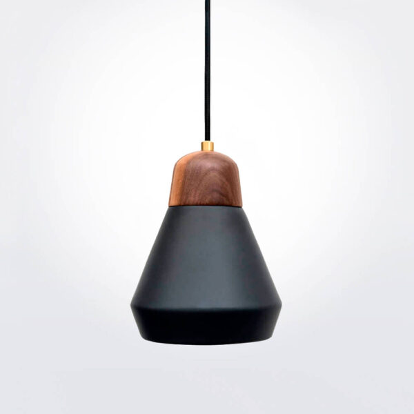 Ceramic and wood black pendant lamp.