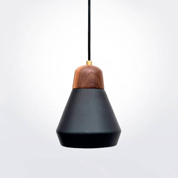 Ceramic and wood black pendant lamp.