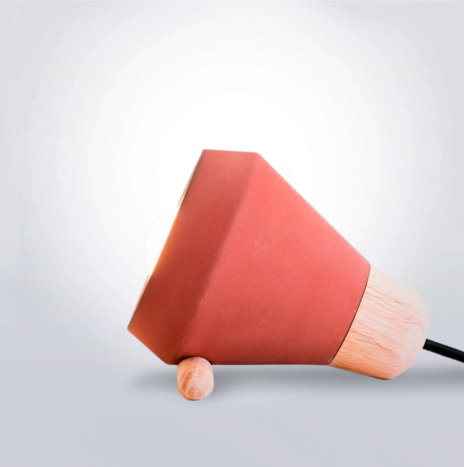 Ceramic and Wood Terracotta Desk Lamp