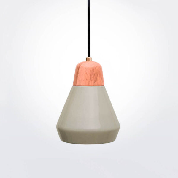 Ceramic and wood light gray pendant lamp.
