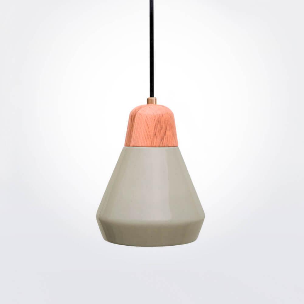 Light Gray Ceramic and Wood Pendant Lamp