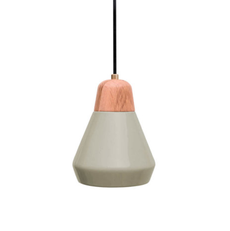 CERAMIC AND WOOD LIGHT GRAY PENDANT LAMP