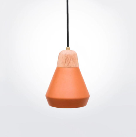 Ceramic and Wood Terracotta Pendant Lamp