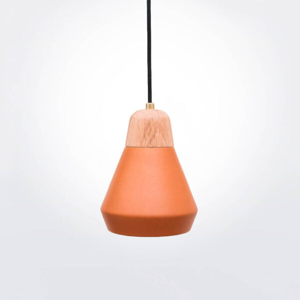 Ceramic and wood terracotta pendant lamp product photo.