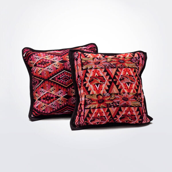 Chiapas huipil pillow cover s details.