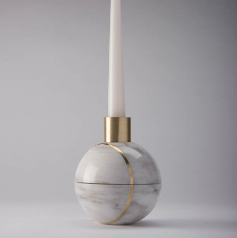 Hauri White Marble Candleholder