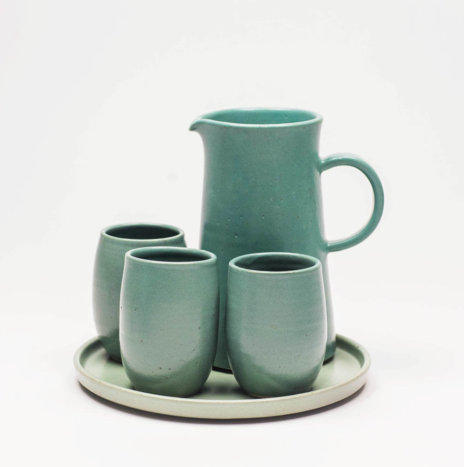 MINT CERAMIC JUG AND GLASSES MUK SET