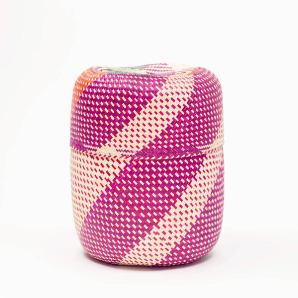 OAXACA PINK PATTERNED PALM BASKET