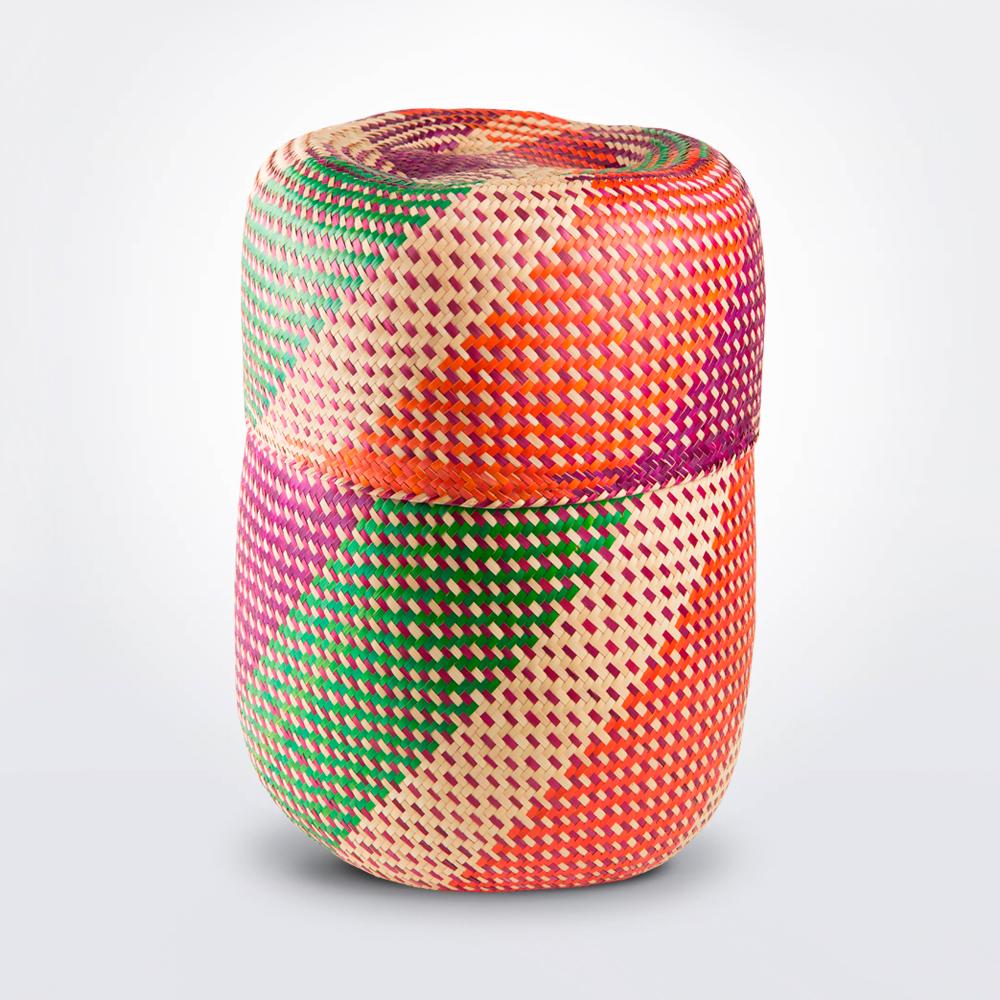 Oaxaca-pink-patterned-palm-basket-1