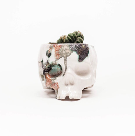 SKULL CRACKED CERAMIC PLANTER POT