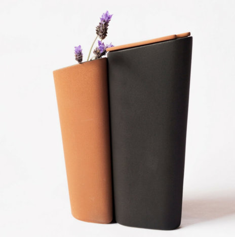 CLAY VASE AND BLACK PITCHER SET