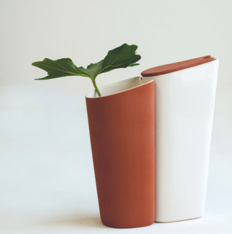 CLAY VASE AND WHITE PITCHER SET